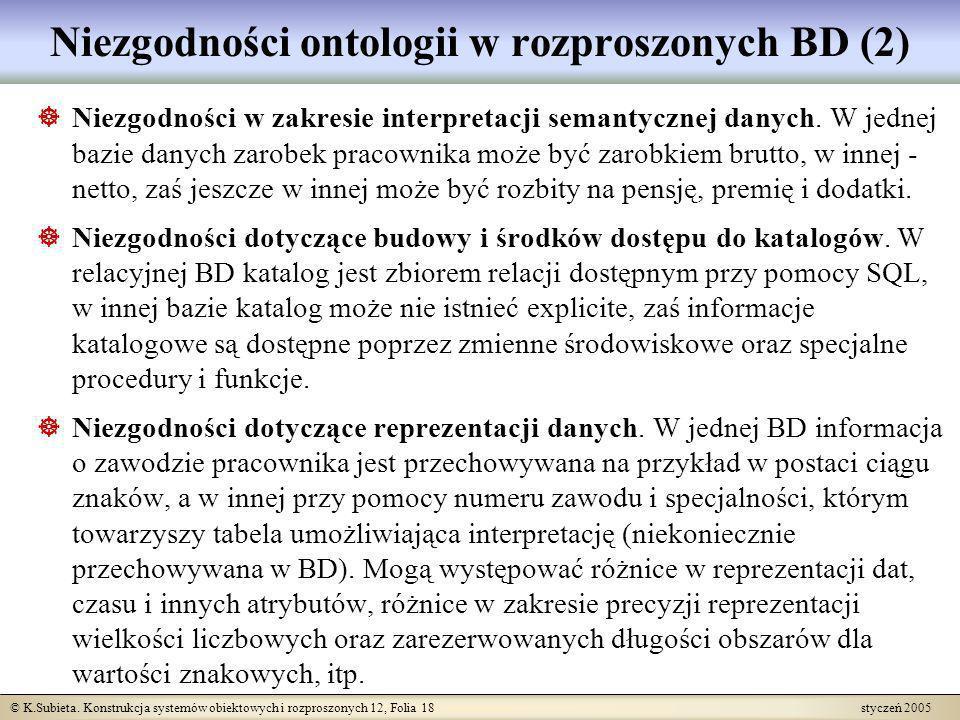 © K.Subieta. Konstrukcja systemów obiektowych i rozproszonych 12, Folia 18 styczeń 2005 Niezgodności ontologii w rozproszonych BD (2) Niezgodności w z