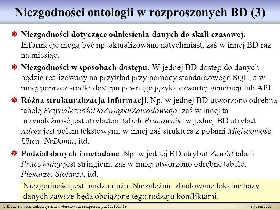 © K.Subieta. Konstrukcja systemów obiektowych i rozproszonych 12, Folia 19 styczeń 2005 Niezgodności ontologii w rozproszonych BD (3) Niezgodności dot