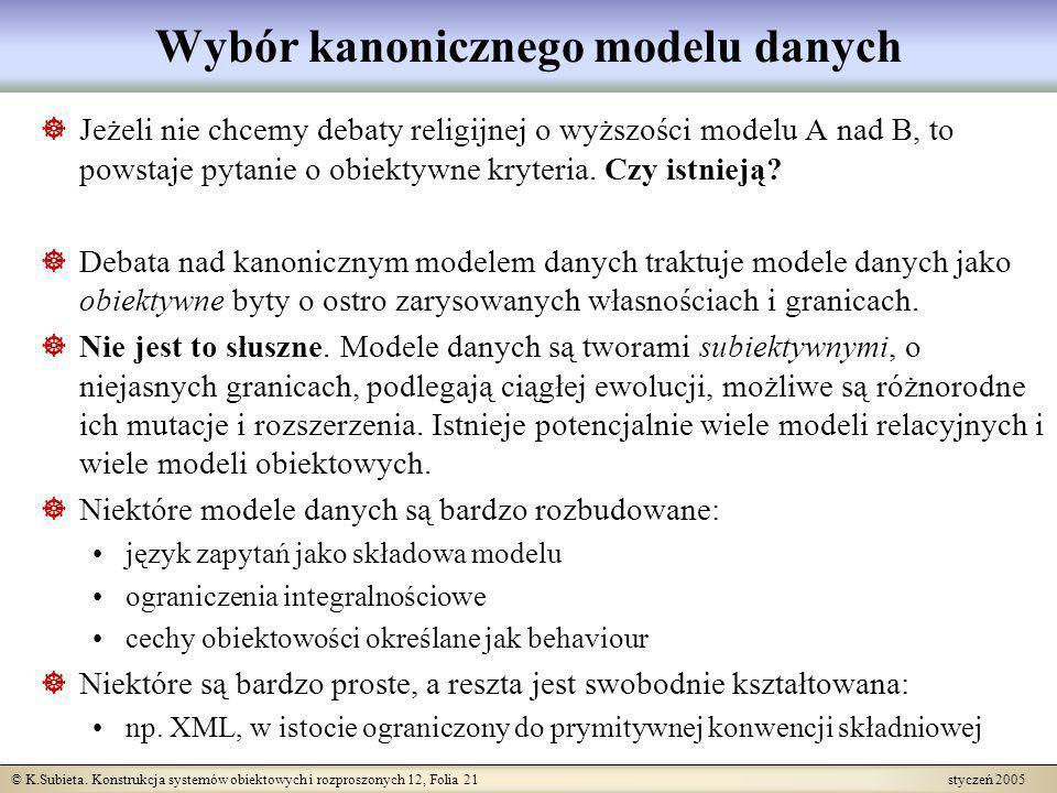 © K.Subieta. Konstrukcja systemów obiektowych i rozproszonych 12, Folia 21 styczeń 2005 Wybór kanonicznego modelu danych Jeżeli nie chcemy debaty reli
