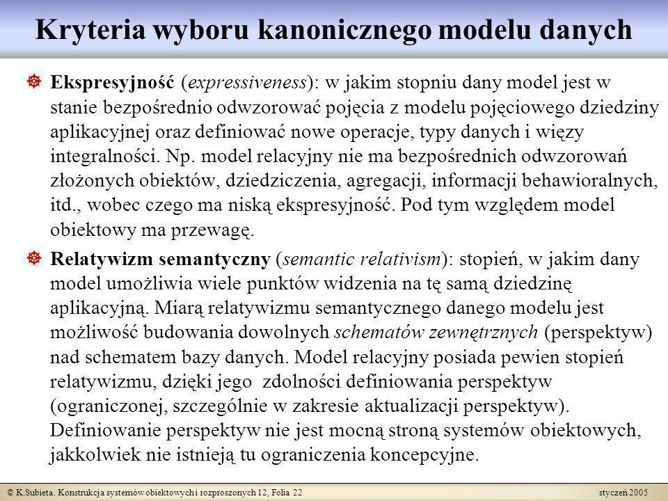 © K.Subieta. Konstrukcja systemów obiektowych i rozproszonych 12, Folia 22 styczeń 2005 Ekspresyjność (expressiveness): w jakim stopniu dany model jes
