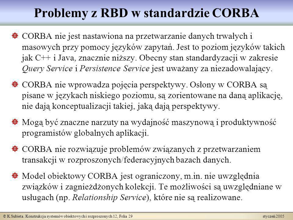 © K.Subieta. Konstrukcja systemów obiektowych i rozproszonych 12, Folia 29 styczeń 2005 Problemy z RBD w standardzie CORBA CORBA nie jest nastawiona n