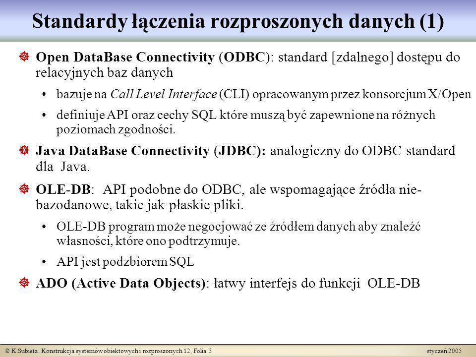 © K.Subieta. Konstrukcja systemów obiektowych i rozproszonych 12, Folia 3 styczeń 2005 Standardy łączenia rozproszonych danych (1) Open DataBase Conne