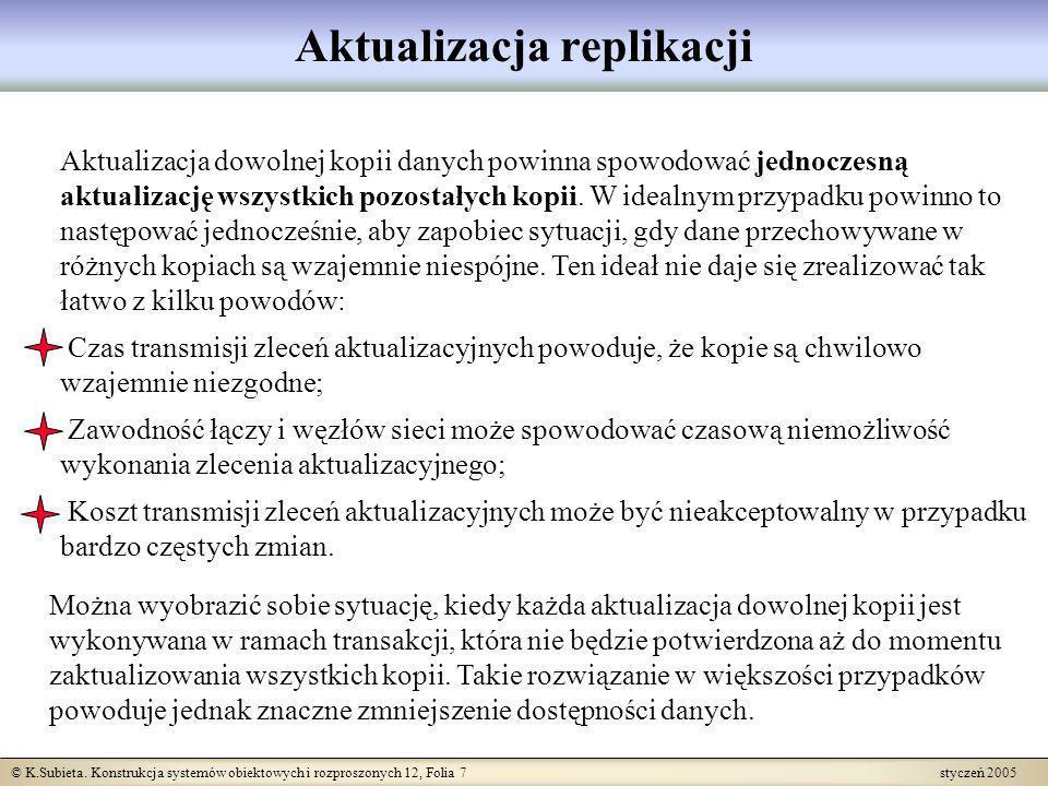© K.Subieta. Konstrukcja systemów obiektowych i rozproszonych 12, Folia 7 styczeń 2005 Aktualizacja replikacji Aktualizacja dowolnej kopii danych powi