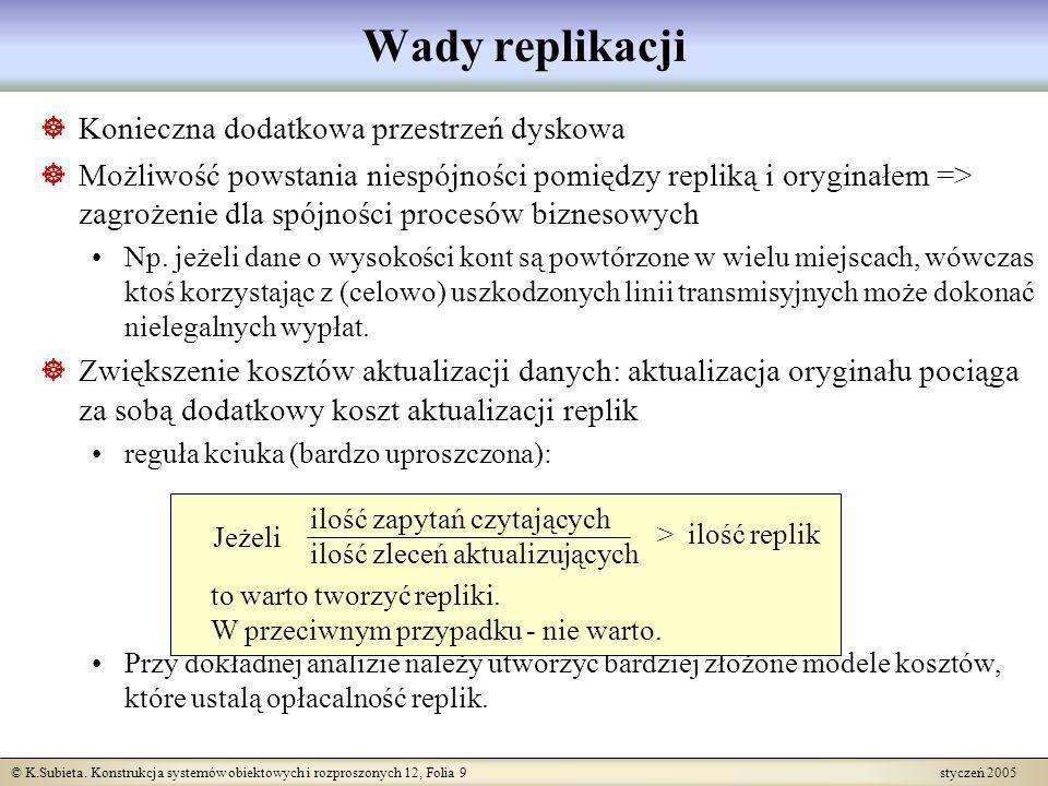 © K.Subieta. Konstrukcja systemów obiektowych i rozproszonych 12, Folia 9 styczeń 2005 Konieczna dodatkowa przestrzeń dyskowa Możliwość powstania nies