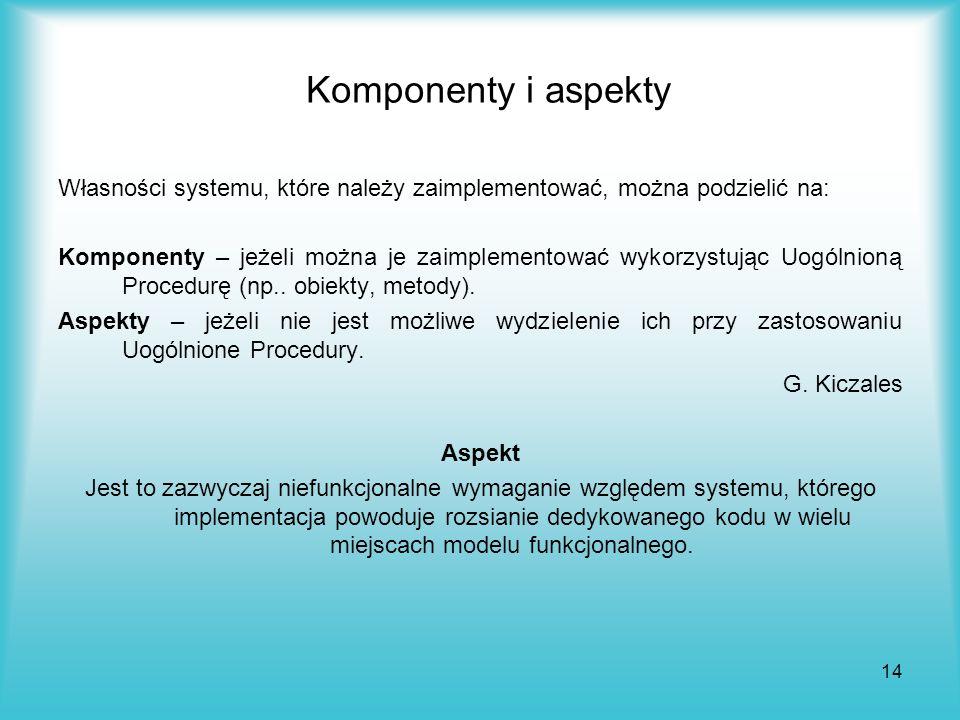 14 Komponenty i aspekty Własności systemu, które należy zaimplementować, można podzielić na: Komponenty – jeżeli można je zaimplementować wykorzystują