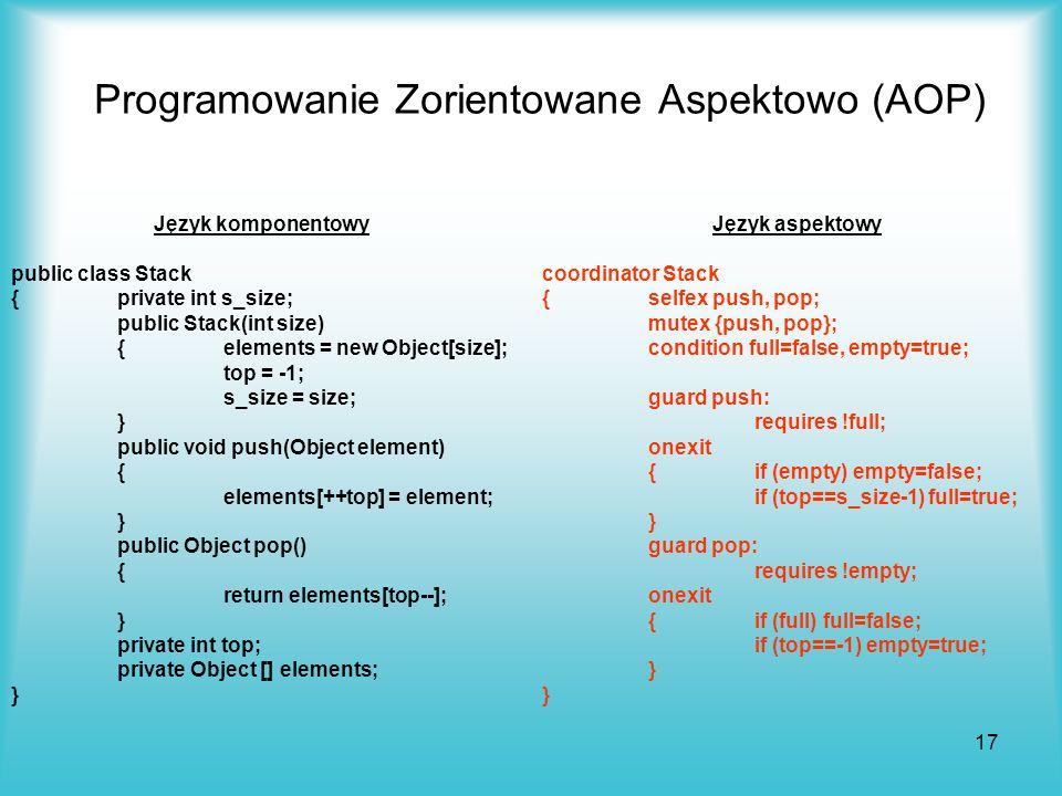 17 Programowanie Zorientowane Aspektowo (AOP) Język komponentowy public class Stack {private int s_size; public Stack(int size) {elements = new Object