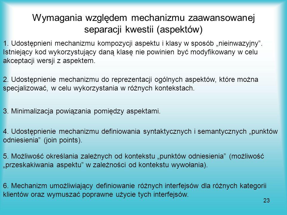 23 Wymagania względem mechanizmu zaawansowanej separacji kwestii (aspektów) 1. Udostępnieni mechanizmu kompozycji aspektu i klasy w sposób nieinwazyjn