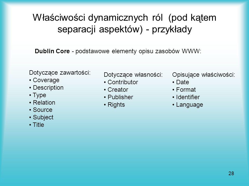 28 Właściwości dynamicznych ról (pod kątem separacji aspektów) - przykłady Dublin Core - podstawowe elementy opisu zasobów WWW: Dotyczące zawartości: