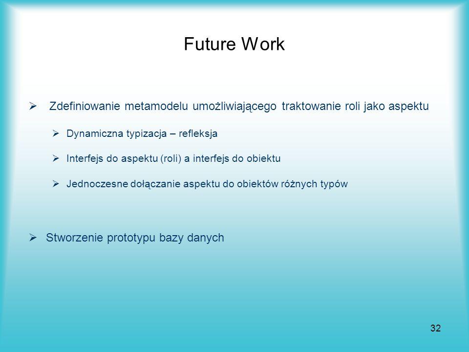 32 Future Work Zdefiniowanie metamodelu umożliwiającego traktowanie roli jako aspektu Dynamiczna typizacja – refleksja Interfejs do aspektu (roli) a i