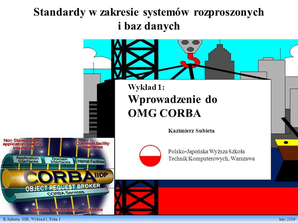 K.Subieta. SSR, Wykład 1, Folia 1 luty 2009 Standardy w zakresie systemów rozproszonych i baz danych Kazimierz Subieta Polsko-Japońska Wyższa Szkoła T