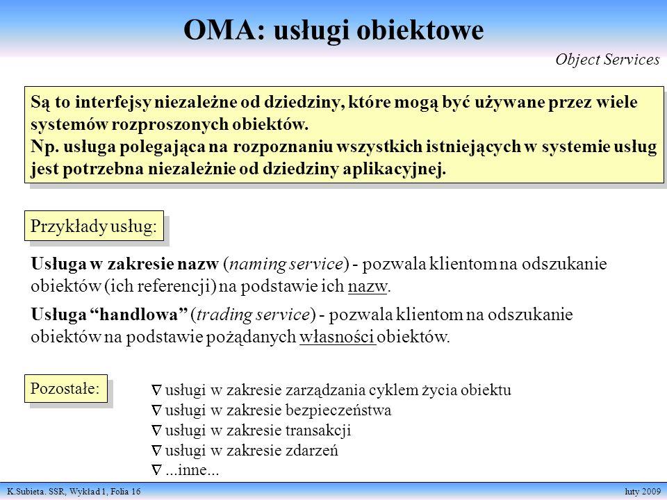 K.Subieta. SSR, Wykład 1, Folia 16 luty 2009 Są to interfejsy niezależne od dziedziny, które mogą być używane przez wiele systemów rozproszonych obiek