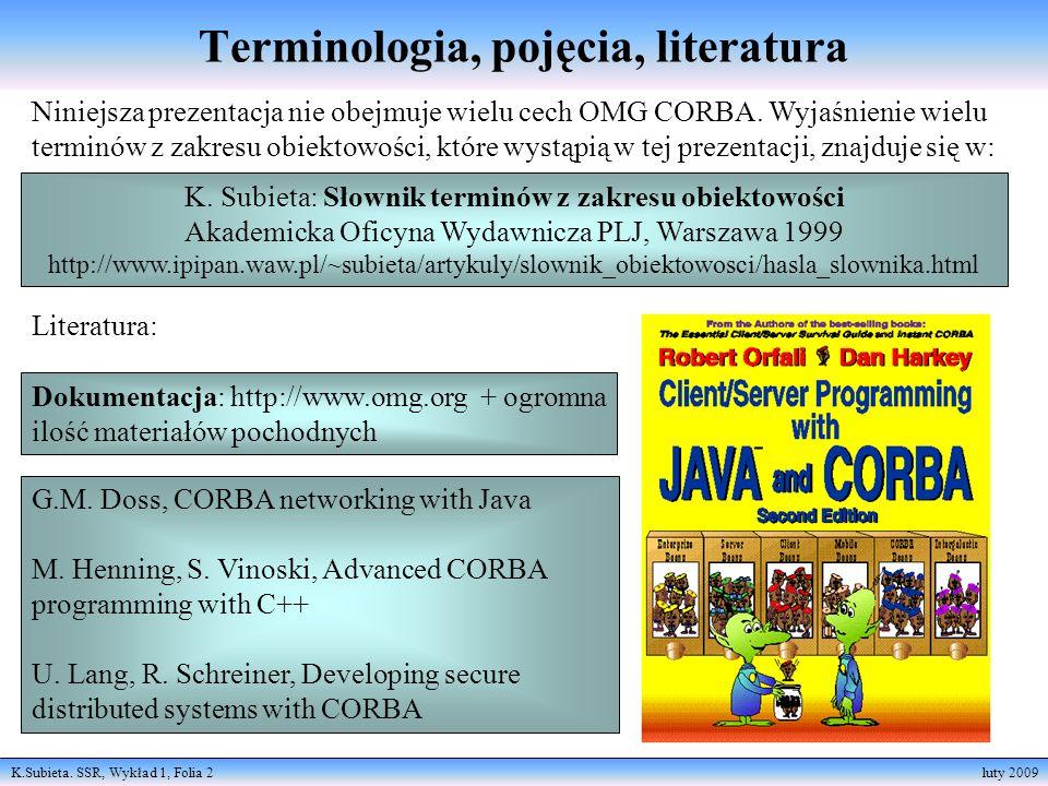 K.Subieta. SSR, Wykład 1, Folia 2 luty 2009 Terminologia, pojęcia, literatura Niniejsza prezentacja nie obejmuje wielu cech OMG CORBA. Wyjaśnienie wie