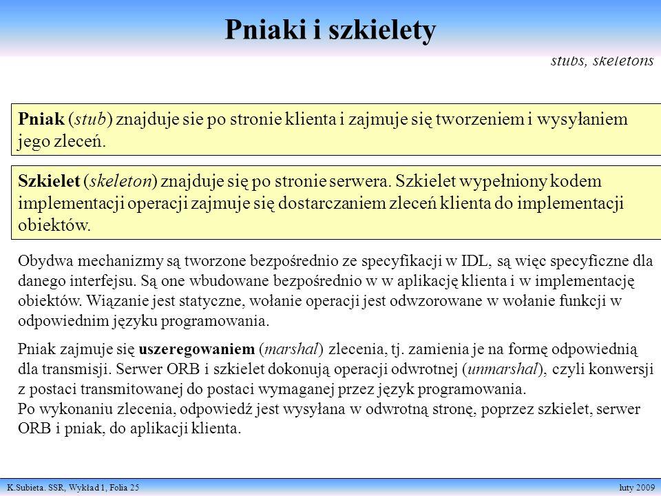K.Subieta. SSR, Wykład 1, Folia 25 luty 2009 stubs, skeletons Pniak (stub) znajduje sie po stronie klienta i zajmuje się tworzeniem i wysyłaniem jego