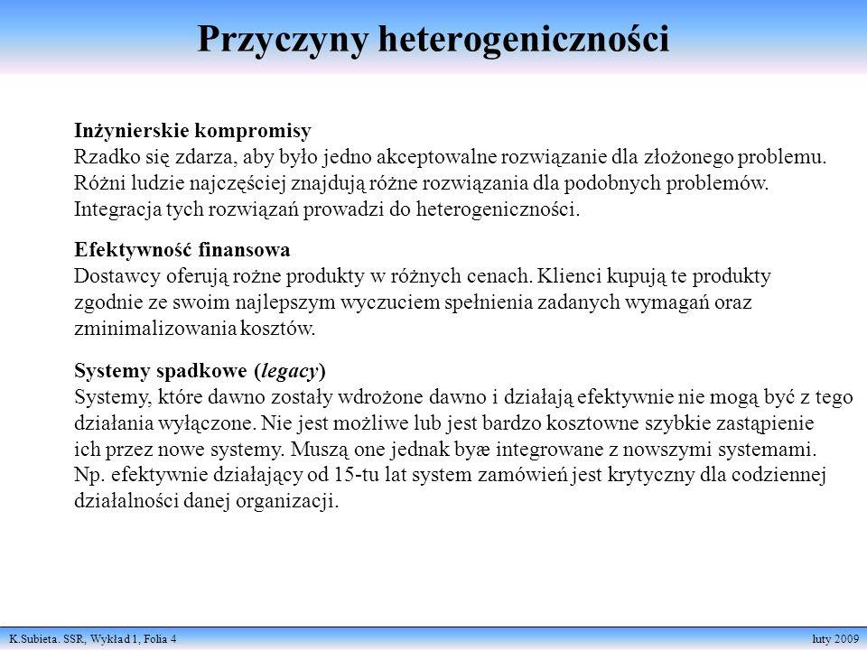 K.Subieta. SSR, Wykład 1, Folia 4 luty 2009 Inżynierskie kompromisy Rzadko się zdarza, aby było jedno akceptowalne rozwiązanie dla złożonego problemu.