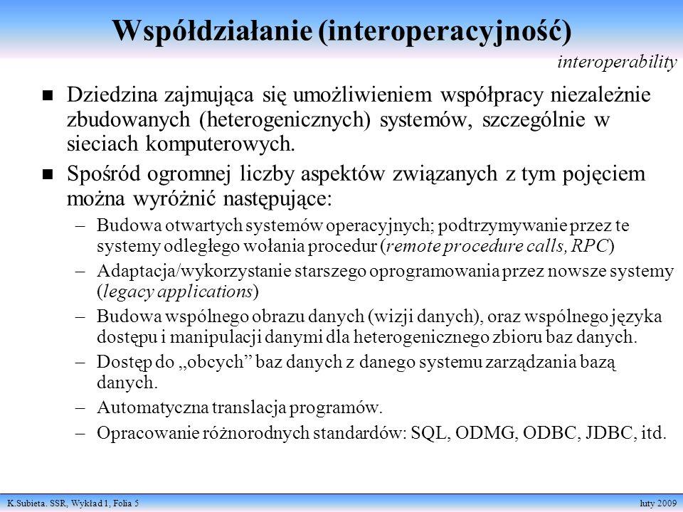 K.Subieta. SSR, Wykład 1, Folia 5 luty 2009 Współdziałanie (interoperacyjność) n Dziedzina zajmująca się umożliwieniem współpracy niezależnie zbudowan