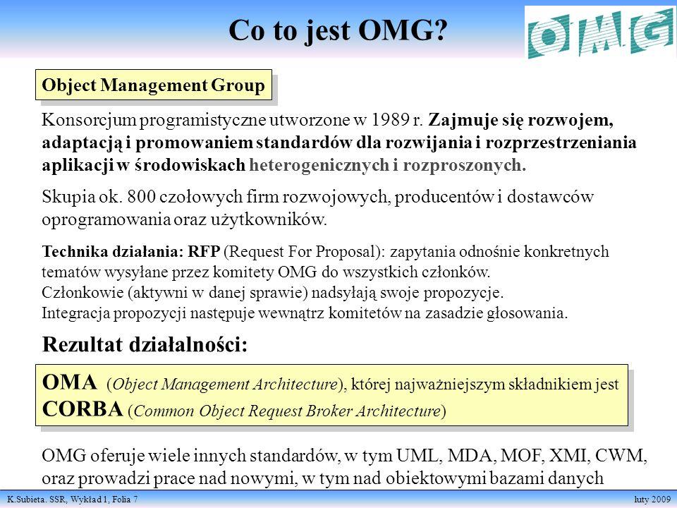 K.Subieta. SSR, Wykład 1, Folia 7 luty 2009 Object Management Group Konsorcjum programistyczne utworzone w 1989 r. Zajmuje się rozwojem, adaptacją i p