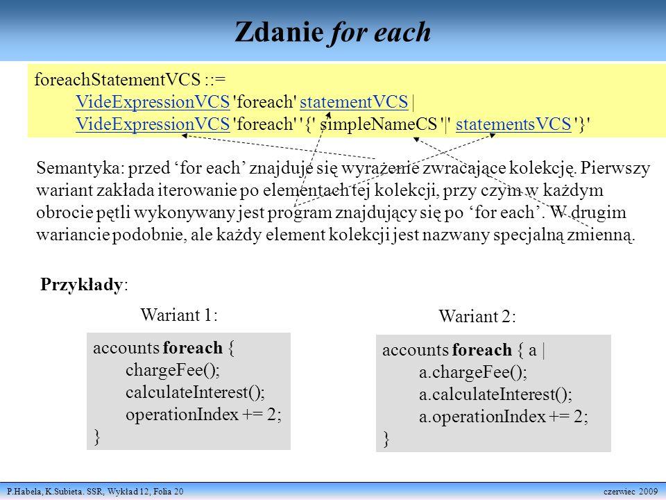 P.Habela, K.Subieta. SSR, Wykład 12, Folia 20 czerwiec 2009 Zdanie for each foreachStatementVCS ::= VideExpressionVCS 'foreach' statementVCS | VideExp