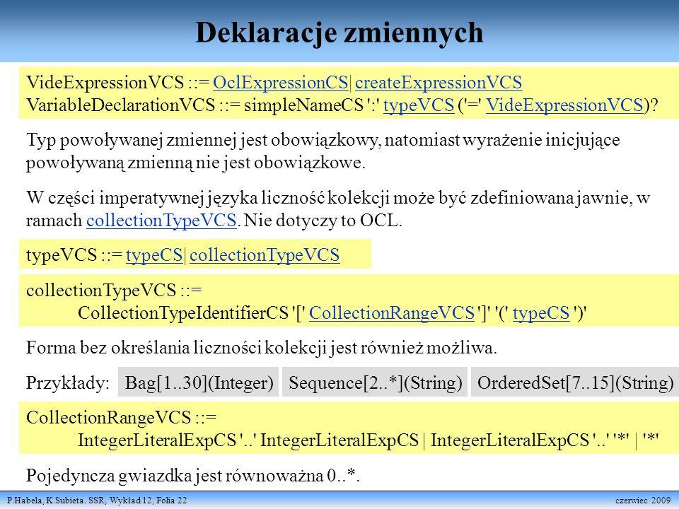 P.Habela, K.Subieta. SSR, Wykład 12, Folia 22 czerwiec 2009 Deklaracje zmiennych CollectionRangeVCS ::= IntegerLiteralExpCS '..' IntegerLiteralExpCS |