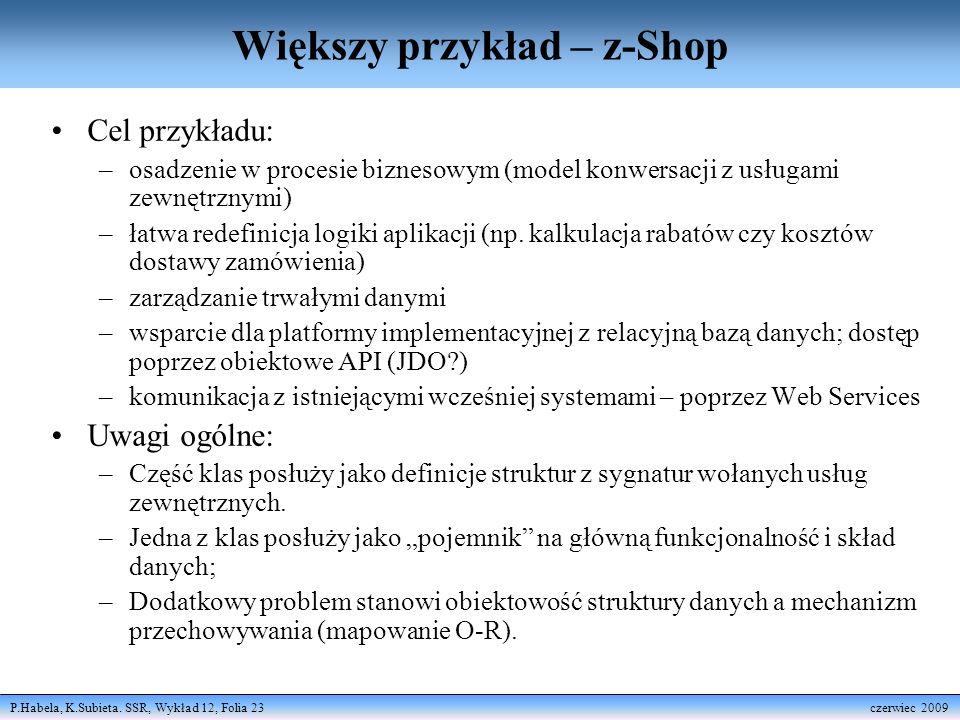 P.Habela, K.Subieta. SSR, Wykład 12, Folia 23 czerwiec 2009 Większy przykład – z-Shop Cel przykładu: –osadzenie w procesie biznesowym (model konwersac