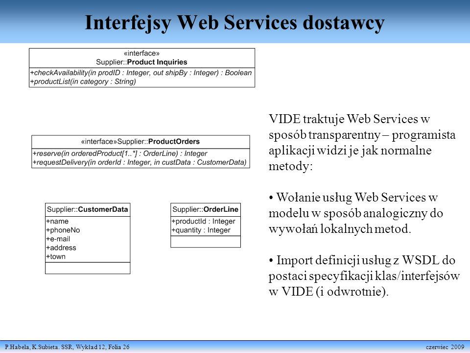 P.Habela, K.Subieta. SSR, Wykład 12, Folia 26 czerwiec 2009 Interfejsy Web Services dostawcy VIDE traktuje Web Services w sposób transparentny – progr