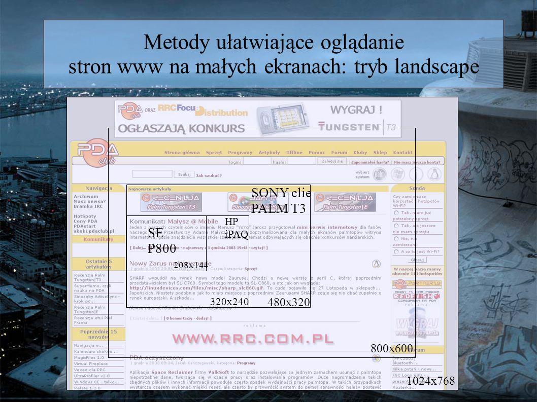 Metody ułatwiające oglądanie stron www na małych ekranach: tryb landscape 1024x768 800x600 320x240 208x144 SE P800 HP iPAQ 480x320 SONY clie PALM T3
