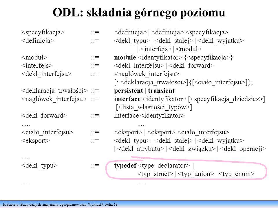 K.Subieta. Bazy danych i inżynieria oprogramowania, Wykład 9, Folia 13 ODL: składnia górnego poziomu ::= | ::= | | | | ::=module { } ::= | ::= [: ]{[