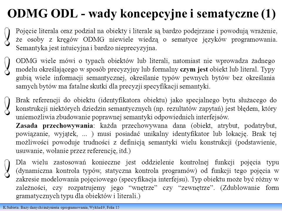 K.Subieta. Bazy danych i inżynieria oprogramowania, Wykład 9, Folia 15 ODMG ODL - wady koncepcyjne i sematyczne (1) Pojęcie literala oraz podział na o
