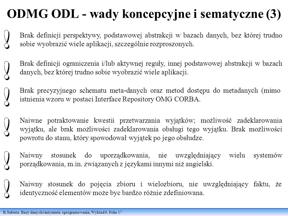 K.Subieta. Bazy danych i inżynieria oprogramowania, Wykład 9, Folia 17 ODMG ODL - wady koncepcyjne i sematyczne (3) Brak definicji perspektywy, podsta