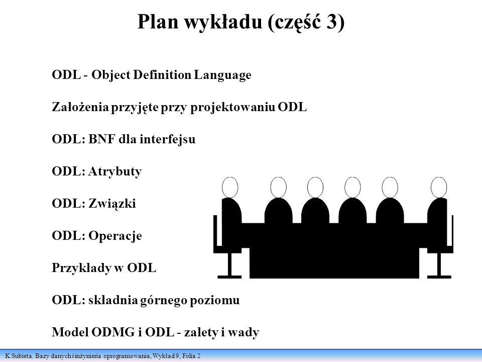 K.Subieta. Bazy danych i inżynieria oprogramowania, Wykład 9, Folia 2 Plan wykładu (część 3) ODL - Object Definition Language Założenia przyjęte przy