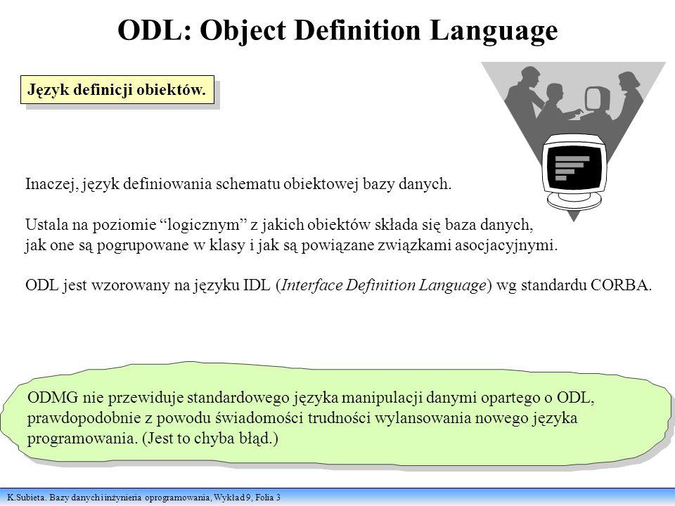 K.Subieta. Bazy danych i inżynieria oprogramowania, Wykład 9, Folia 3 ODL: Object Definition Language Inaczej, język definiowania schematu obiektowej