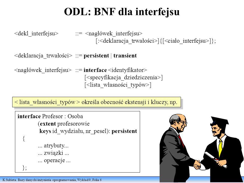K.Subieta. Bazy danych i inżynieria oprogramowania, Wykład 9, Folia 6 ODL: BNF dla interfejsu ::= [: ]{[ ]}; ::= persistent | transient ::= interface