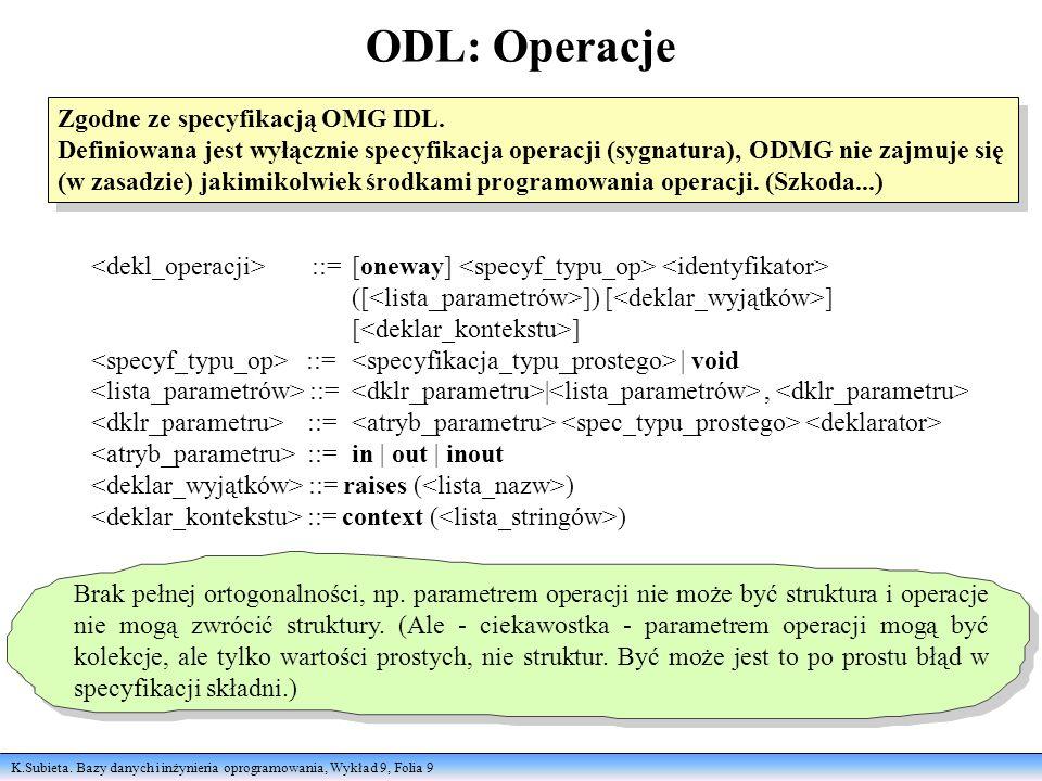 K.Subieta. Bazy danych i inżynieria oprogramowania, Wykład 9, Folia 9 ODL: Operacje Zgodne ze specyfikacją OMG IDL. Definiowana jest wyłącznie specyfi