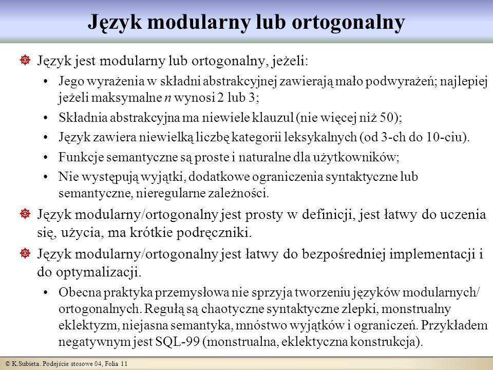© K.Subieta. Podejście stosowe 04, Folia 11 Język modularny lub ortogonalny Język jest modularny lub ortogonalny, jeżeli: Jego wyrażenia w składni abs
