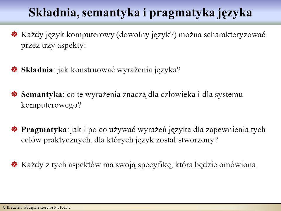 © K.Subieta. Podejście stosowe 04, Folia 2 Składnia, semantyka i pragmatyka języka Każdy język komputerowy (dowolny język?) można scharakteryzować prz