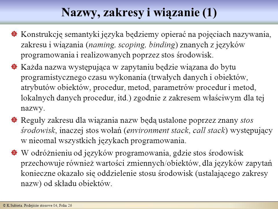 © K.Subieta. Podejście stosowe 04, Folia 26 Nazwy, zakresy i wiązanie (1) Konstrukcję semantyki języka będziemy opierać na pojęciach nazywania, zakres