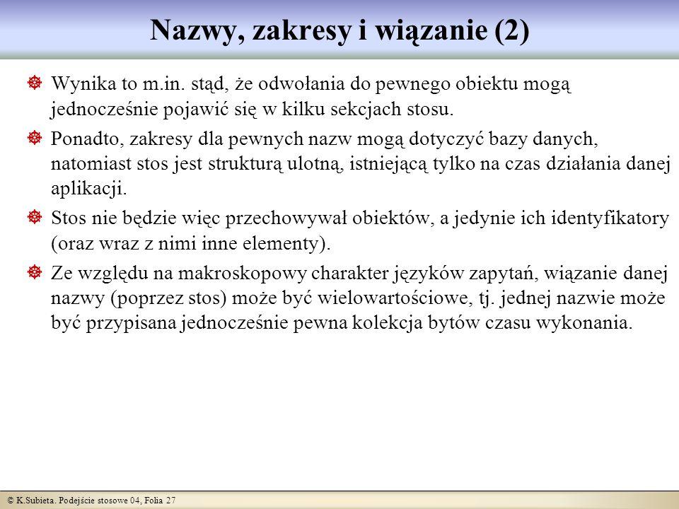 © K.Subieta. Podejście stosowe 04, Folia 27 Nazwy, zakresy i wiązanie (2) Wynika to m.in. stąd, że odwołania do pewnego obiektu mogą jednocześnie poja