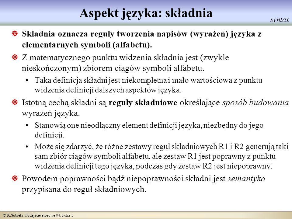 © K.Subieta. Podejście stosowe 04, Folia 3 Aspekt języka: składnia Składnia oznacza reguły tworzenia napisów (wyrażeń) języka z elementarnych symboli