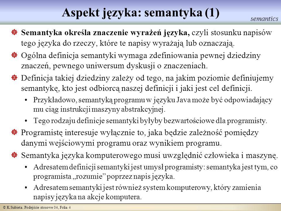 © K.Subieta. Podejście stosowe 04, Folia 4 Aspekt języka: semantyka (1) Semantyka określa znaczenie wyrażeń języka, czyli stosunku napisów tego języka