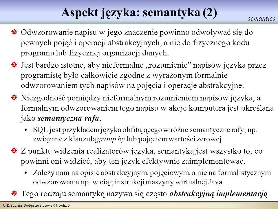 © K.Subieta. Podejście stosowe 04, Folia 5 Aspekt języka: semantyka (2) Odwzorowanie napisu w jego znaczenie powinno odwoływać się do pewnych pojęć i