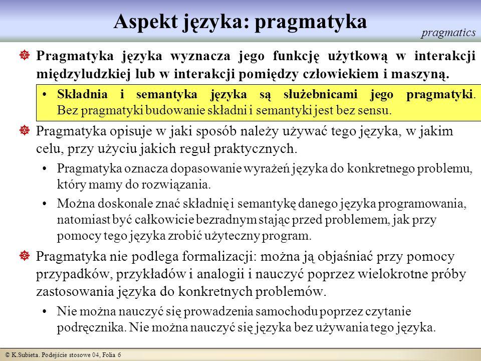 © K.Subieta. Podejście stosowe 04, Folia 6 Aspekt języka: pragmatyka Pragmatyka języka wyznacza jego funkcję użytkową w interakcji międzyludzkiej lub