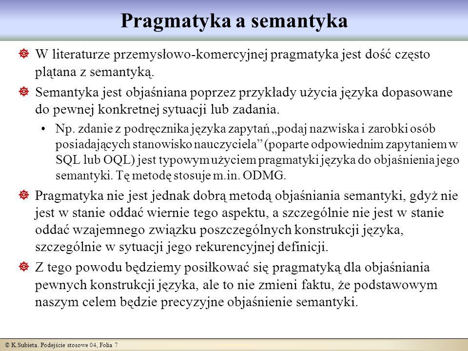 © K.Subieta. Podejście stosowe 04, Folia 7 Pragmatyka a semantyka W literaturze przemysłowo-komercyjnej pragmatyka jest dość często plątana z semantyk