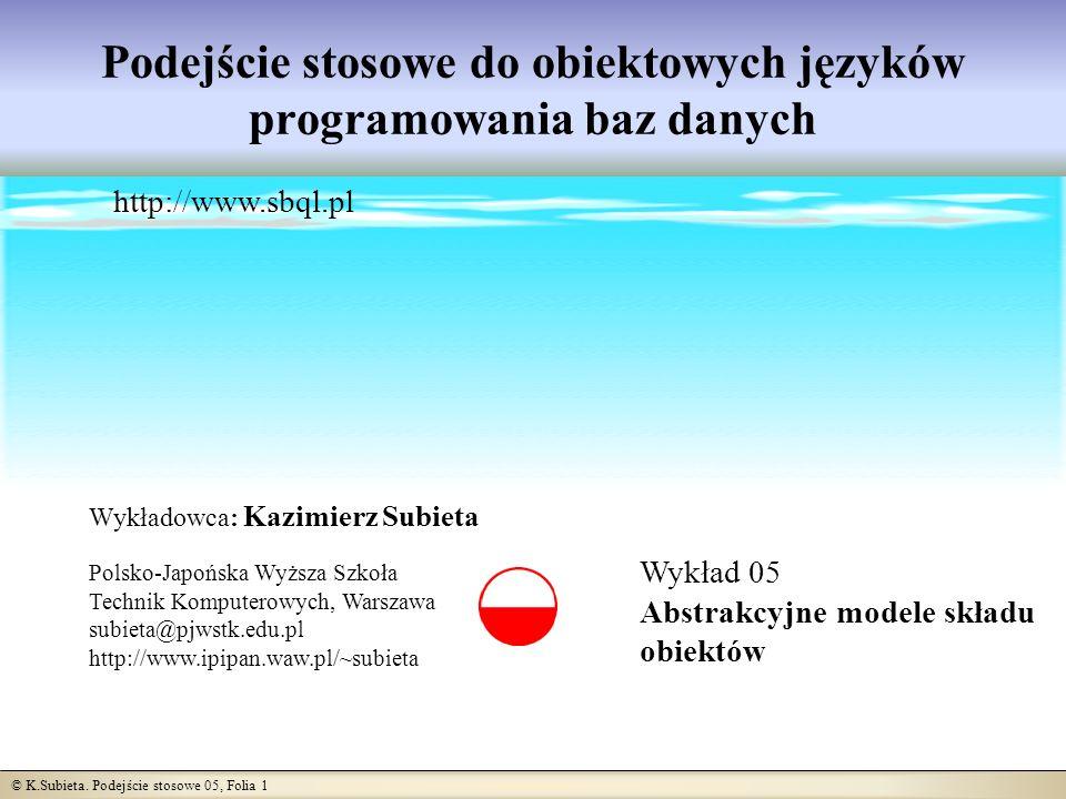 © K.Subieta. Podejście stosowe 05, Folia 1 Podejście stosowe do obiektowych języków programowania baz danych Wykład 05 Abstrakcyjne modele składu obie