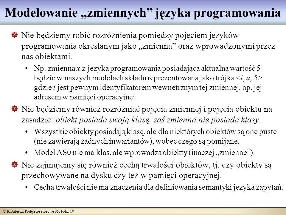 © K.Subieta. Podejście stosowe 05, Folia 10 Modelowanie zmiennych języka programowania Nie będziemy robić rozróżnienia pomiędzy pojęciem języków progr