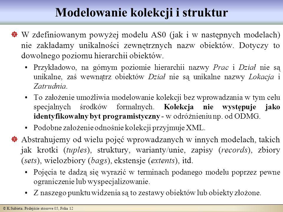 © K.Subieta. Podejście stosowe 05, Folia 12 Modelowanie kolekcji i struktur W zdefiniowanym powyżej modelu AS0 (jak i w następnych modelach) nie zakła
