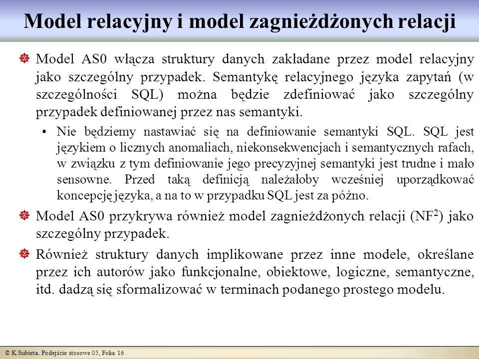 © K.Subieta. Podejście stosowe 05, Folia 16 Model relacyjny i model zagnieżdżonych relacji Model AS0 włącza struktury danych zakładane przez model rel