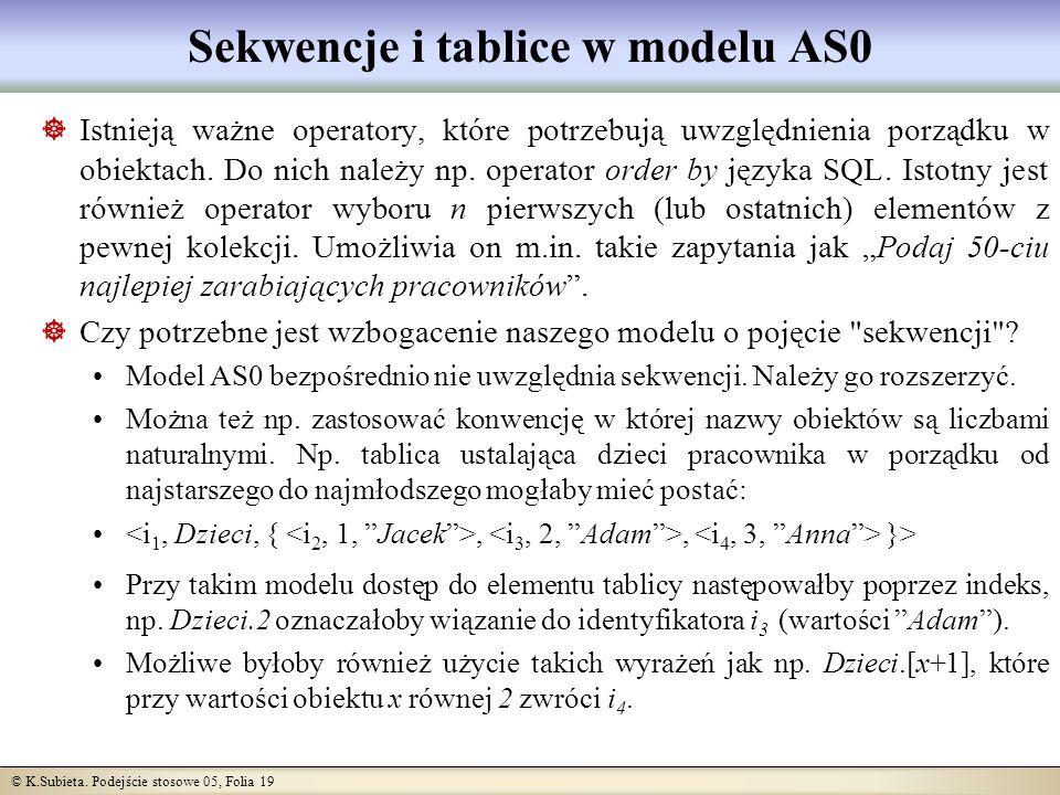© K.Subieta. Podejście stosowe 05, Folia 19 Sekwencje i tablice w modelu AS0 Istnieją ważne operatory, które potrzebują uwzględnienia porządku w obiek