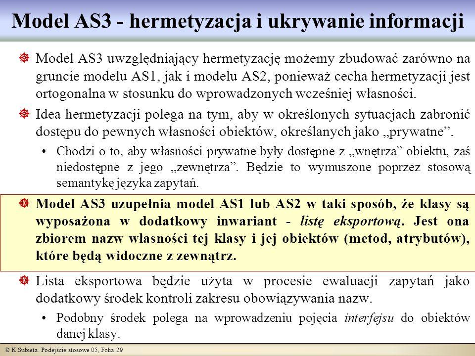 © K.Subieta. Podejście stosowe 05, Folia 29 Model AS3 - hermetyzacja i ukrywanie informacji Model AS3 uwzględniający hermetyzację możemy zbudować zaró