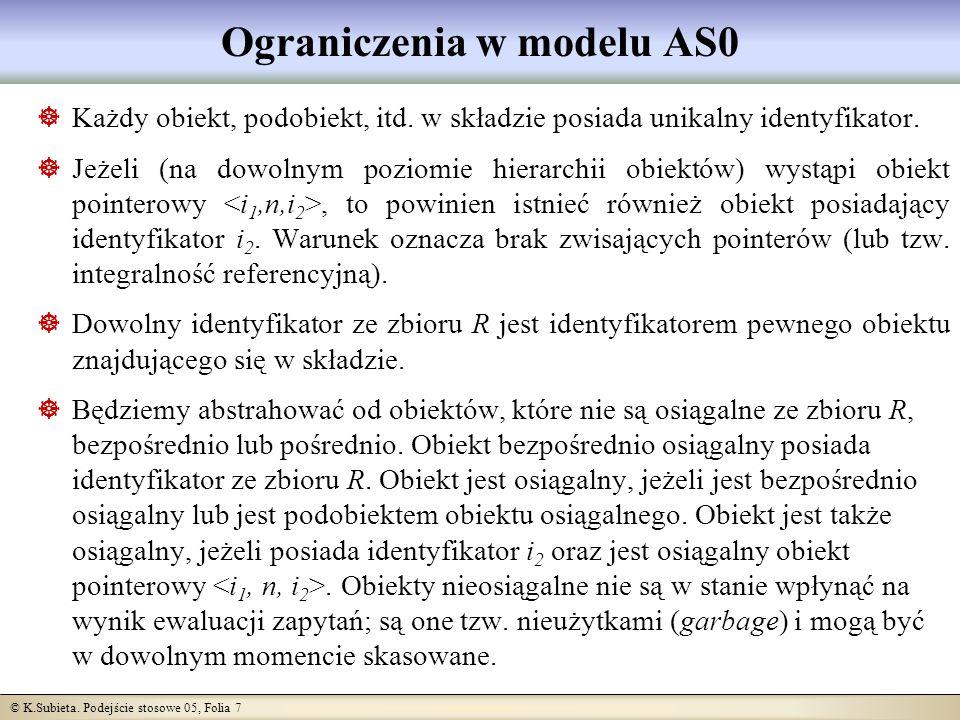 © K.Subieta. Podejście stosowe 05, Folia 7 Ograniczenia w modelu AS0 Każdy obiekt, podobiekt, itd.
