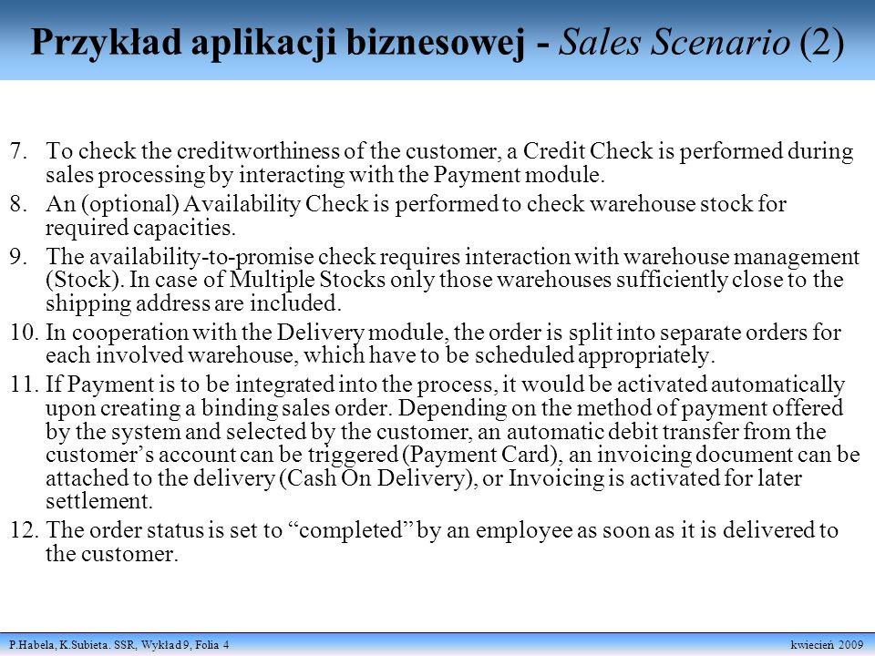 P.Habela, K.Subieta. SSR, Wykład 9, Folia 15 kwiecień 2009 CIM - perspektywa reguł biznesowych
