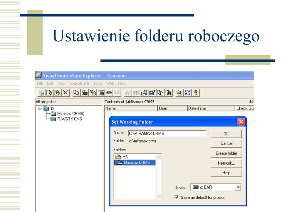 Ustawienie folderu roboczego